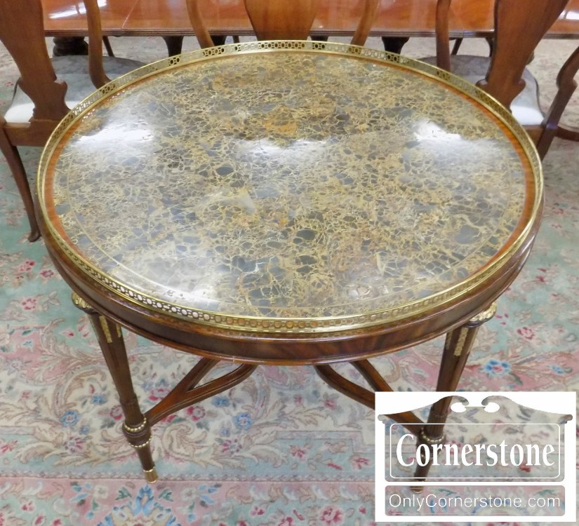 Amazing Maitland Smith Mahogany Marble Top Round Foyer Table With Brass Gallery