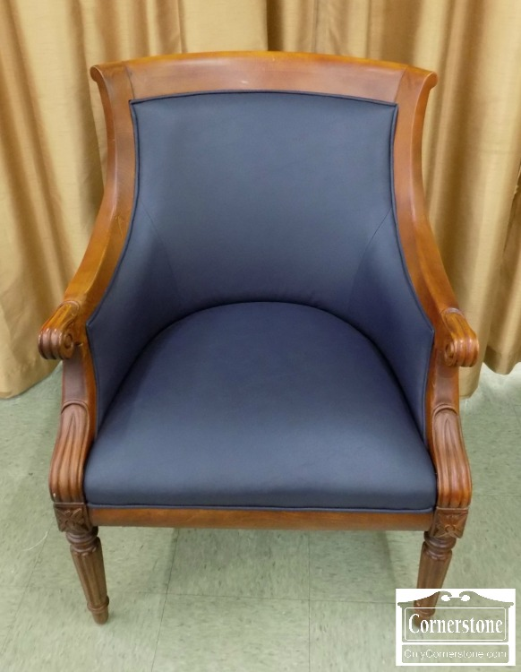 3959 2280   Fairfield Cherry Blue Leather Club Chair