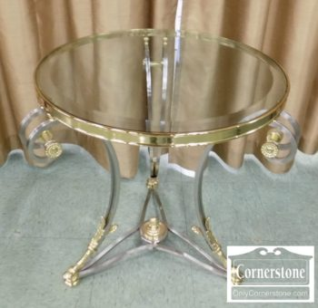 3959-2295 - LaBarge Round Brass Metal & Glass End Table