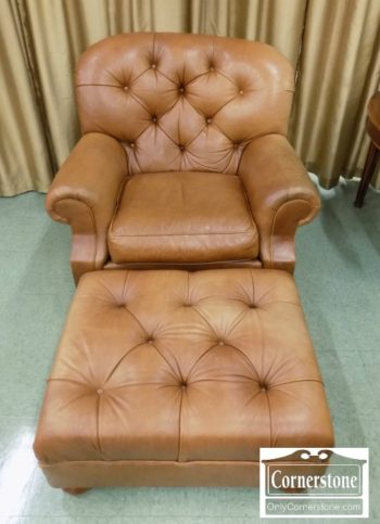 3959-2297 - Ethan Allen Leather Tufted Chair & Ottoman