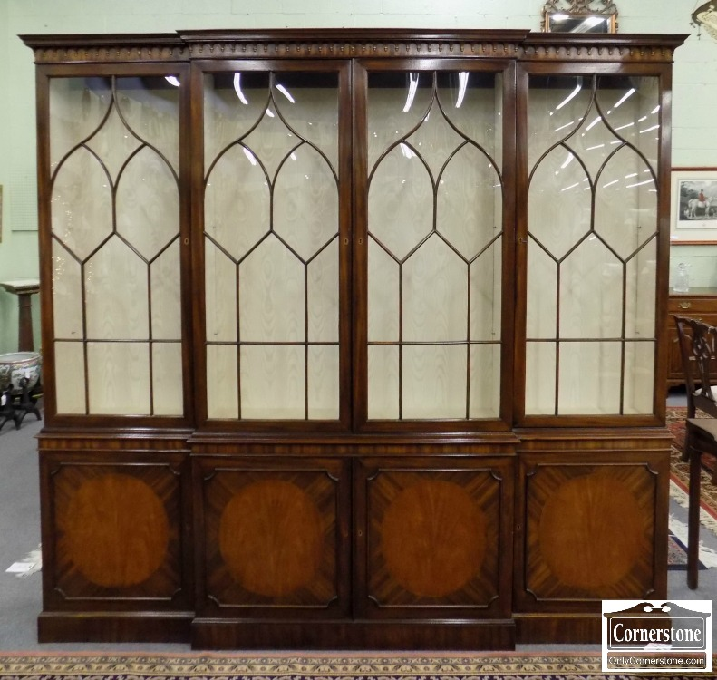 3959 2357   Baker Mahogany Breakfront Lined With Moire