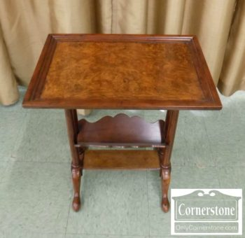 3959-2365 - Small Walnut Stand with Bookrack and Queen Anne Feet