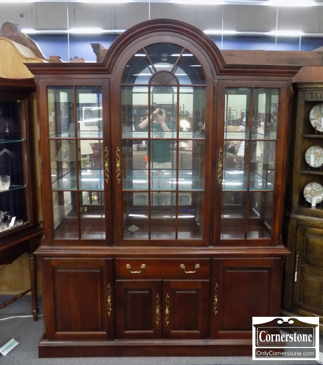 Lovely PA House Solid Cherry Arch Top Breakfront / China Cabinet   Sold