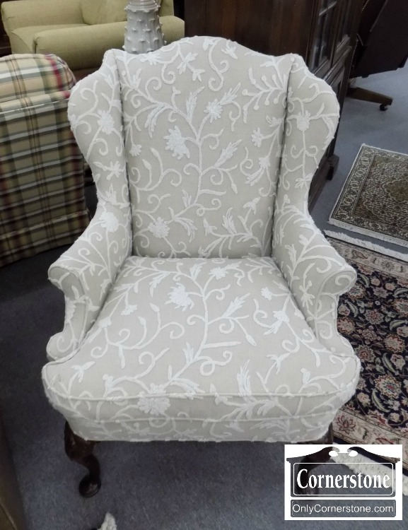 Hickory Chair Beige/White Crewel Wing Chair   Sold