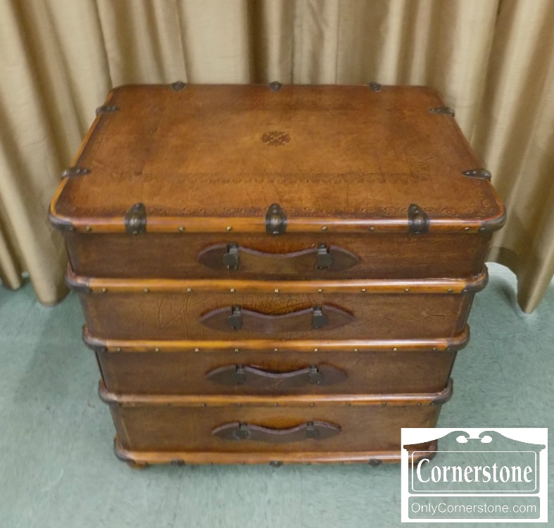 Theodore Alexander Leather Covered Trunk Chest Baltimore Maryland Furniture Cornerstone