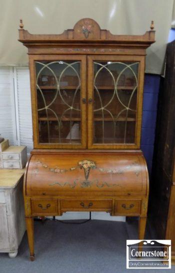 3959-2769 - Wood Barrel Floral Painted Desk