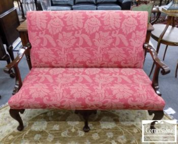 3959-2865 - Stickley CW4 Burgundy Settee with Mahogany Frame