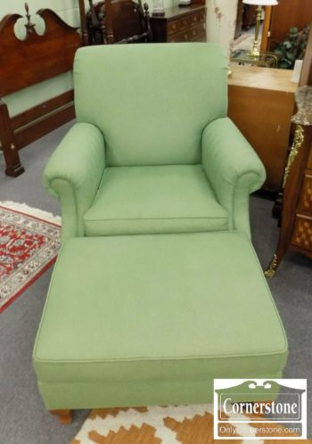 3959-2876 - Ethan Allen Green Uph Chair with Ottoman