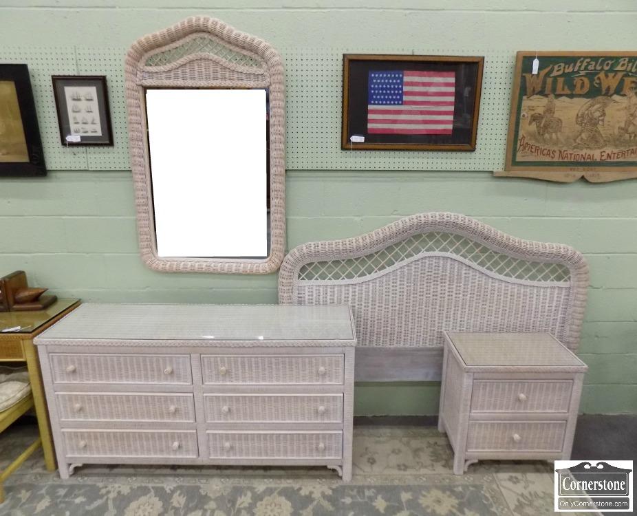 3959 2882 Henry Link Lexington 4pc Wicker Bedroom Set