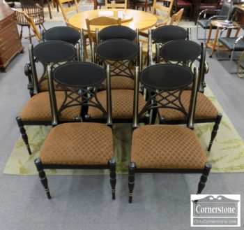 3959-2887 - 8 Black and Gold Dining Chairs