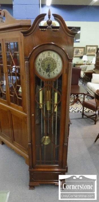 3959-2914 - Colonial Mahogany Tubular Chime Grandfather Clock