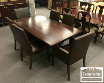 3959-3053 - Pottery Brn Sol Ch Table and 6 Leather Chairs