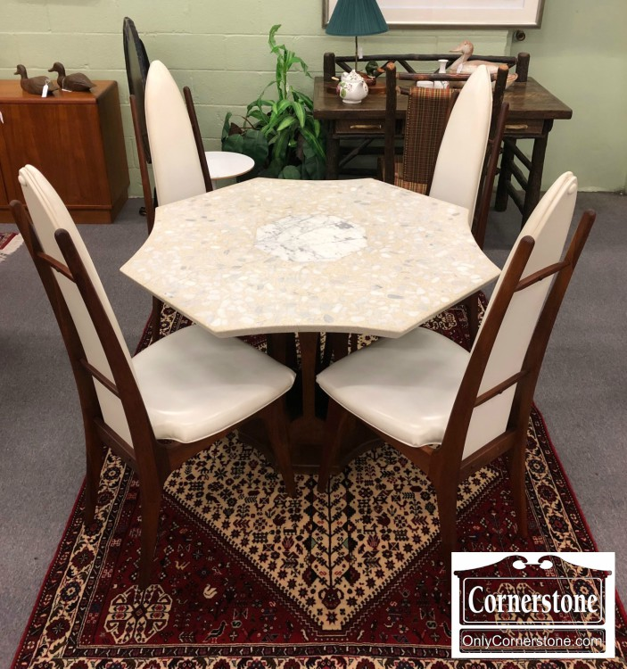 3959 3077 Mid Century Mod Teak Base Stone Top Tbl And 4 Chairs