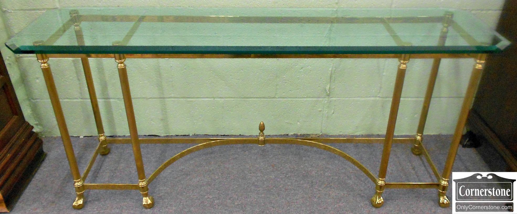 3959-878 Contemporary Brass & Glass Sofa Table