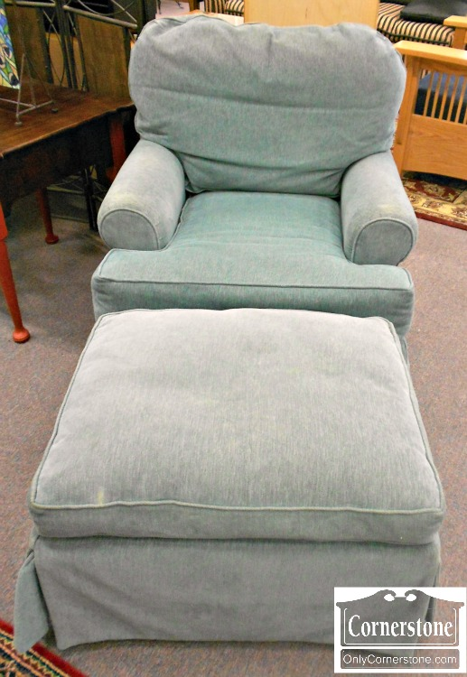3959-882 Pale Green Occasional Chair and Ottoman Set