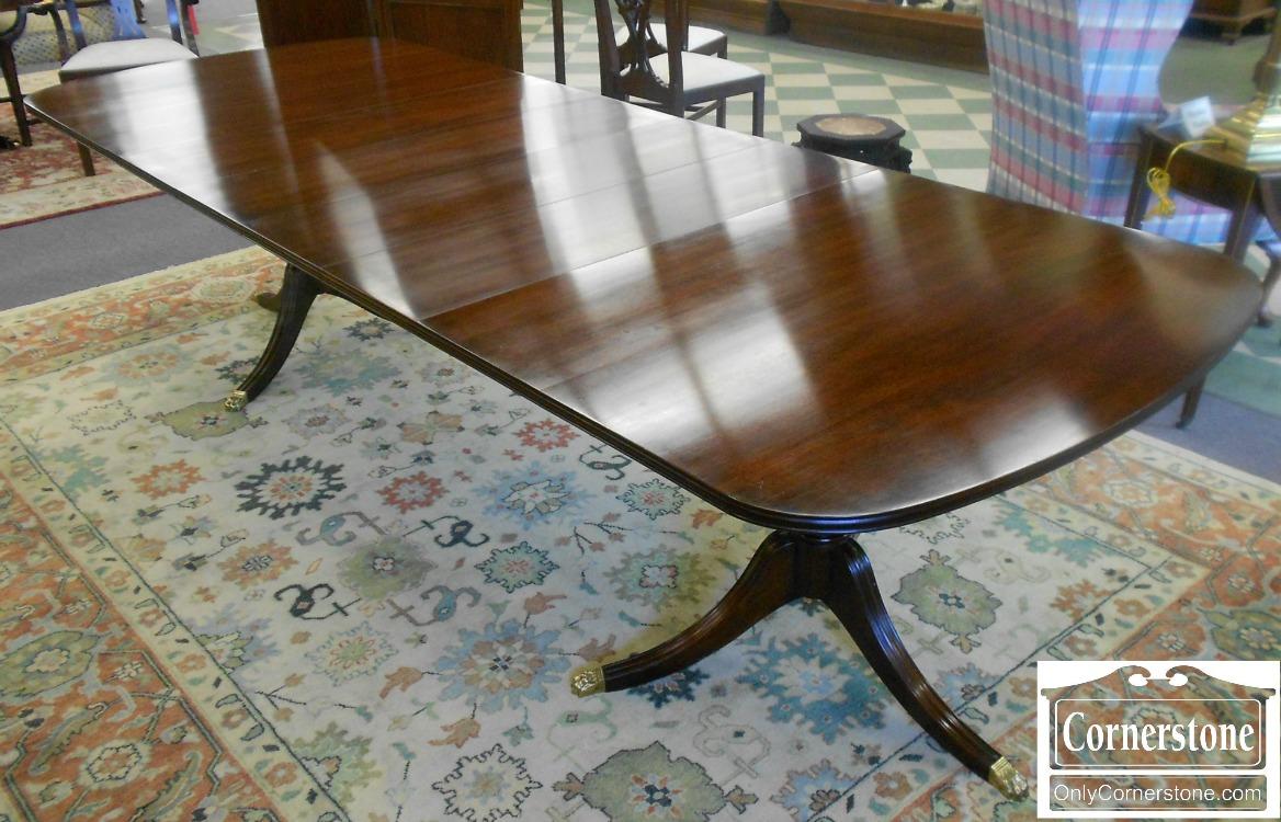 3959-896 Henkel Harris Solid Mahogany Double Pedestal Dining Table