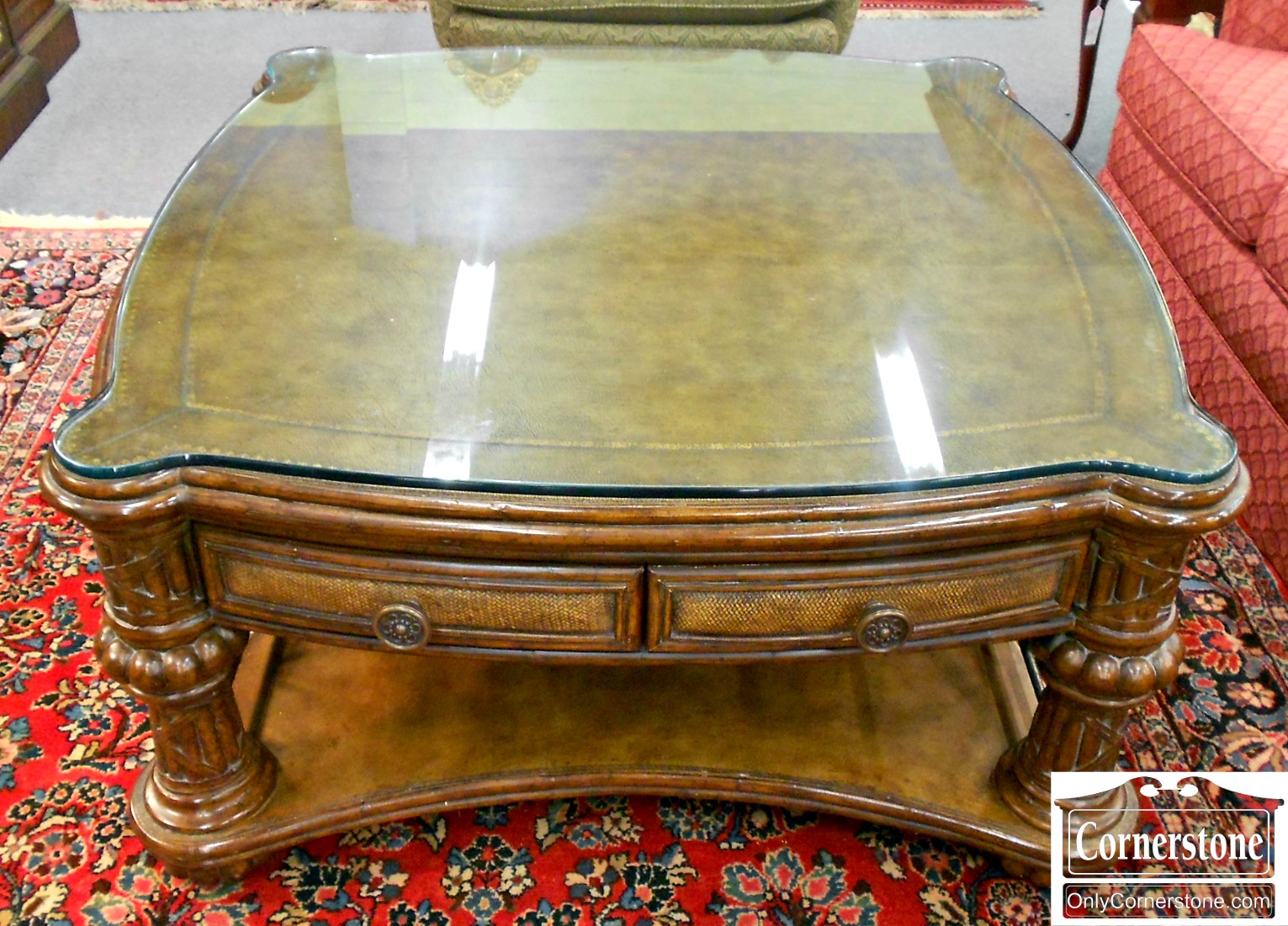 3959-911 Leather Top Coffee Table with Glass Top