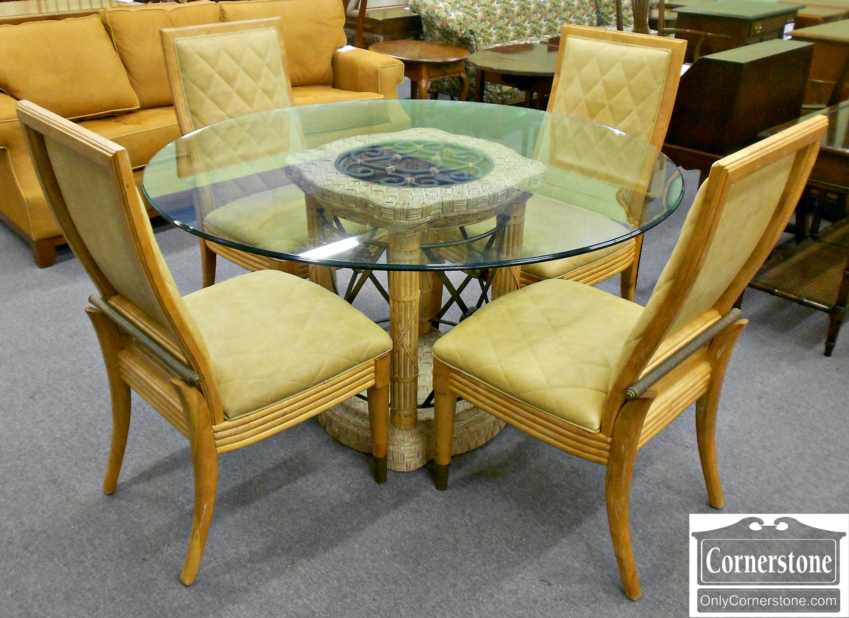 3959-912 Century Glass Top Table and 4 Chairs