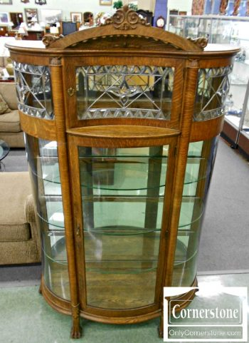 3959-972 Antique Oak Bowfront Curio Cabinet
