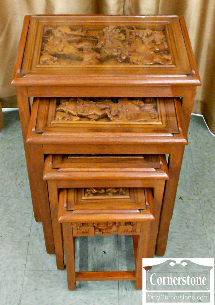 4454-1074 Set of Teak Oriental Style Nesting Tables