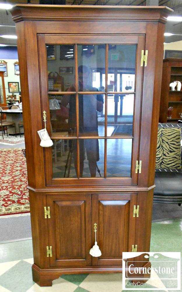 4454-1075 Henkel Harris Solid Cherry Fairfax 9 Pane Corner Cabinet Finish #24