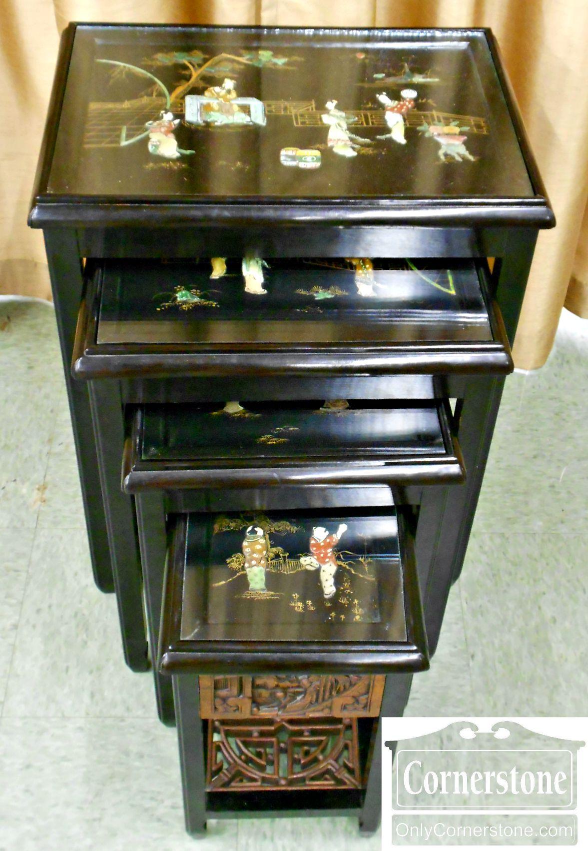 4454-1088 Set of 4 Oriental Nesting Tables