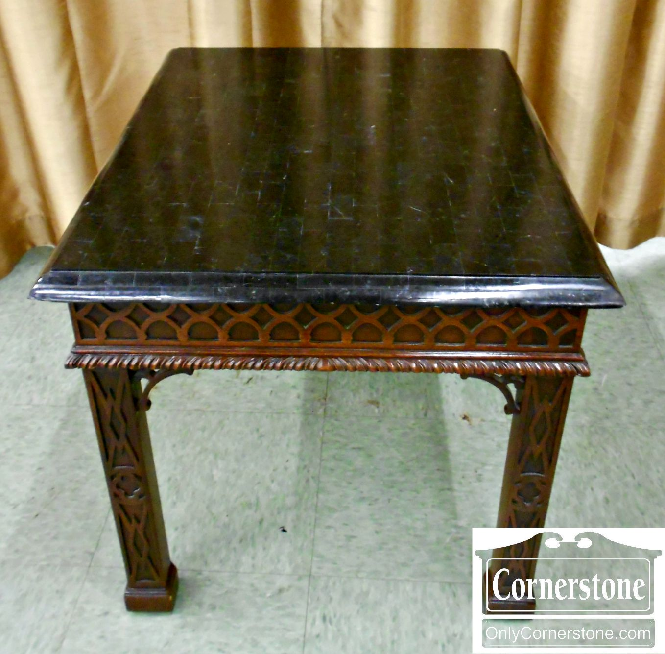 4454-1143 Maitland Smith Mahogany Chinoiserie End Table with Faux Marble Top