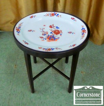 4454-1386 Mottahedeh Platter on Mahogany Stand