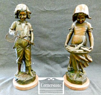 4454-1574 - Pair of Spelter Figurines - Boy and Girl from the Estate of Marvin Mandel, Former Maryland Governor