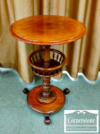 4454-1616 - Mahogany Round Sewing Stand with Pedestal Base