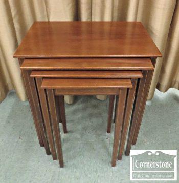 4454-1663 - Biggs Solid Mahogany Inlaid Nesting Tables - Set of 4