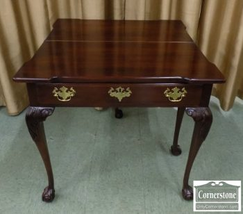 4454-1674 - Statton Solid Cherry Chippendale B&C Game Table with Glass Top