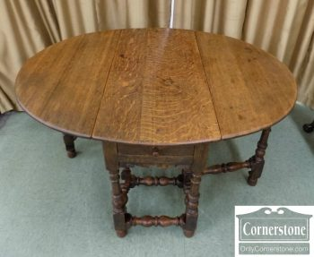 4454-1678 - English Solid Oak 18th Century Antique Dropleaf Table