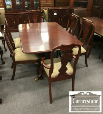 4454-2057 - Colonial Sol Cher Ped Tbl 2Lvs 6 Chairs
