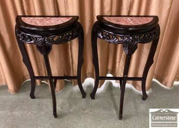 Pair of Asian Demilune Stands with Red Marble Insert