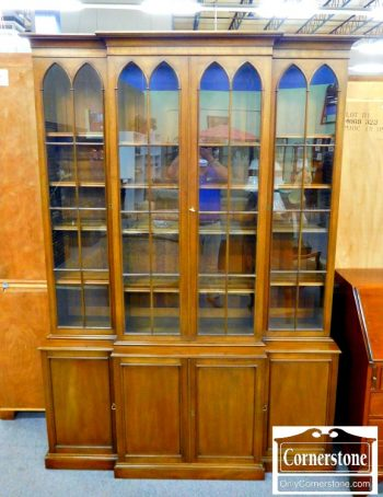 4539-74 - Kittinger Mahogany Chippendale Breakfront Bookcase CW 102