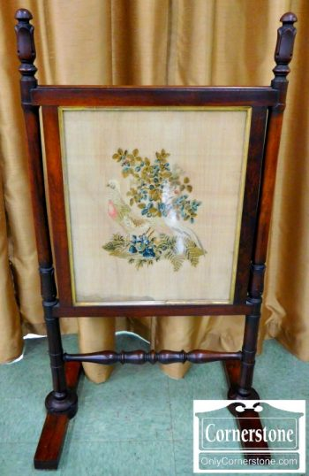4714-1088 Z Antique Walnut 2 Sided Needlepoint Fire Screen
