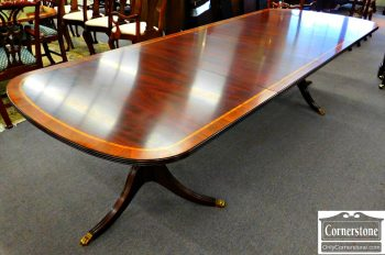 4910-21 Henkel Harris Banded Mahogany Pedestal Dining Table