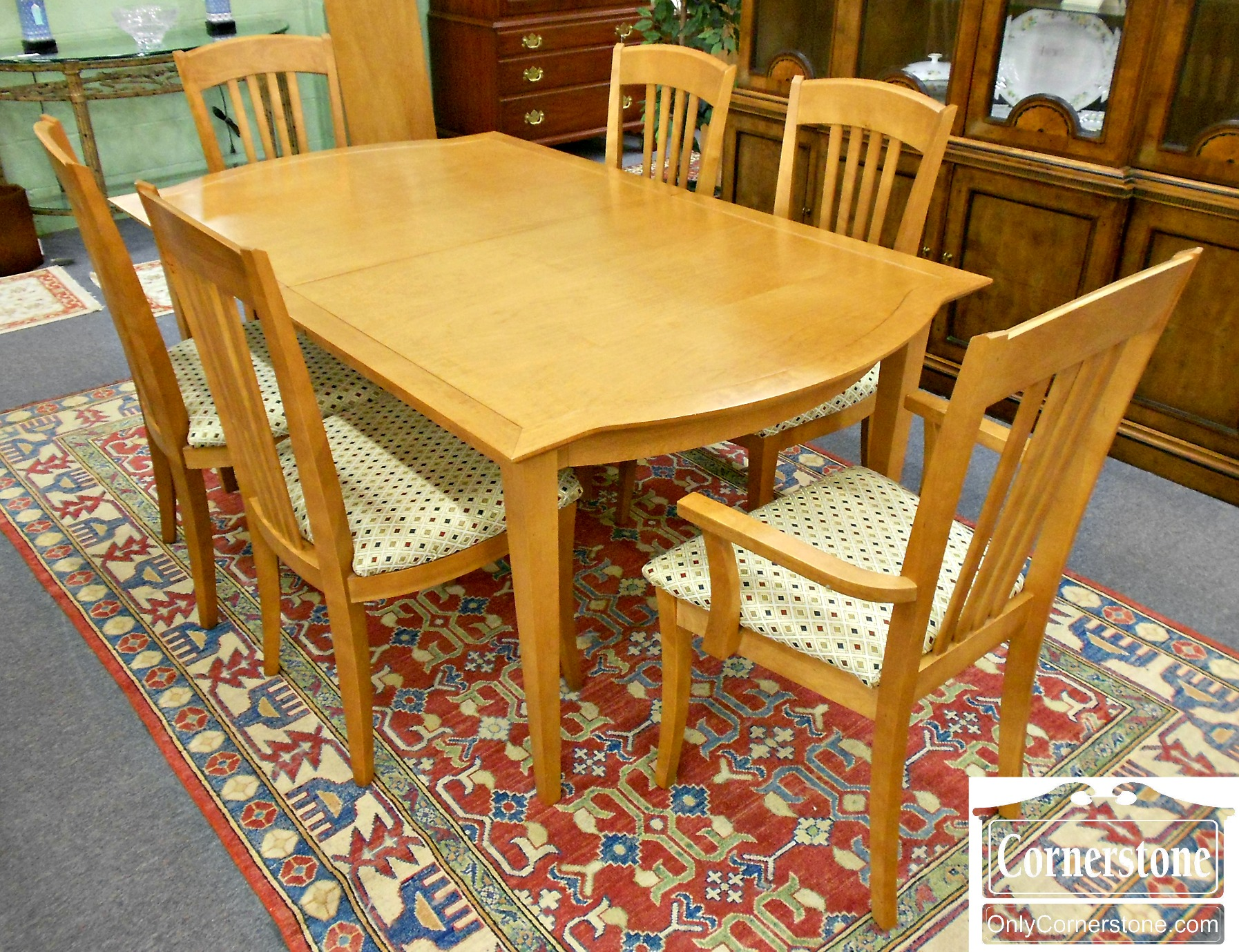 5208-1020 Shermag Table with 1 Leaf & 6 Chairs