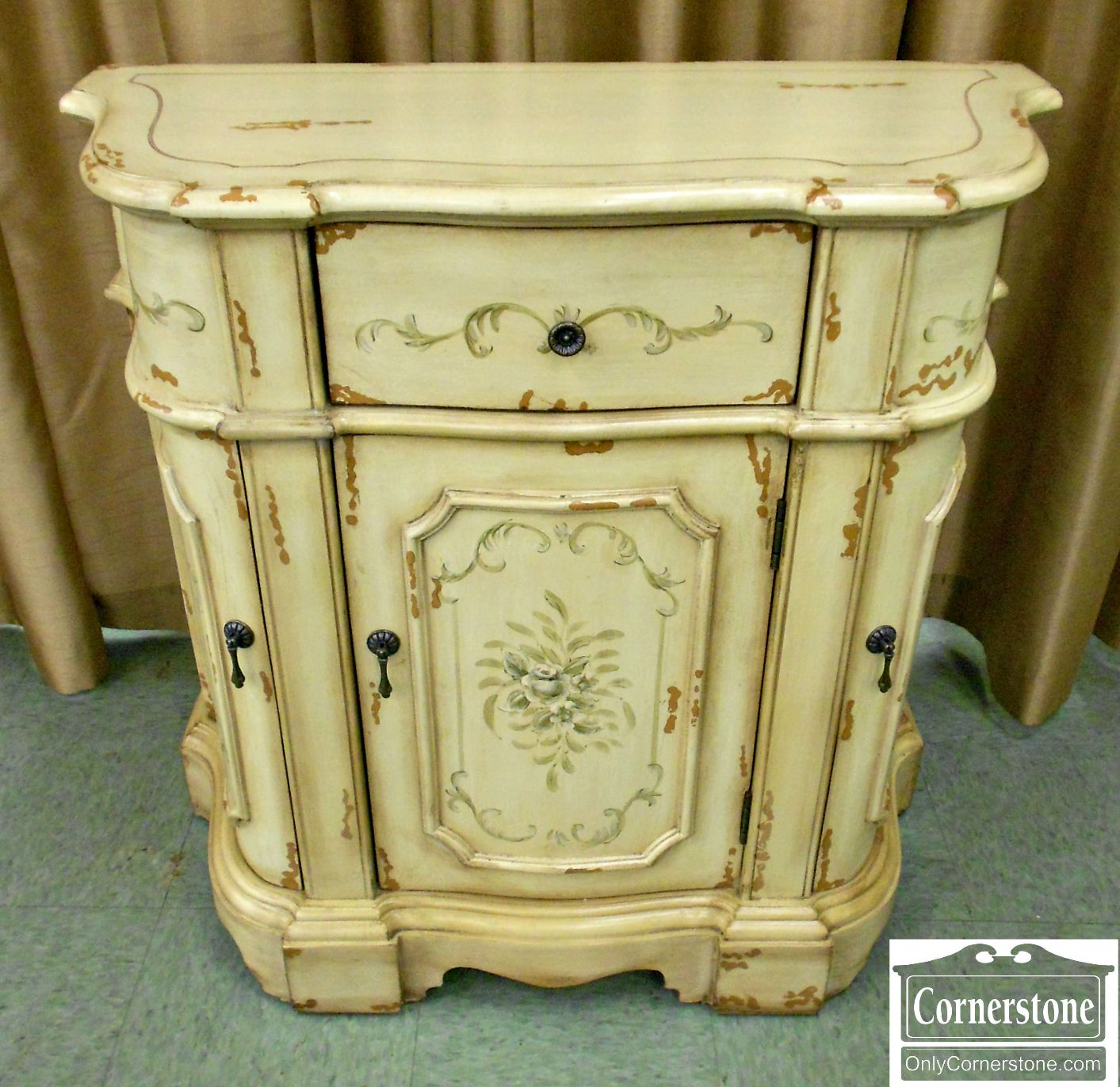 5208-766 Distressed White Painted Cabinet