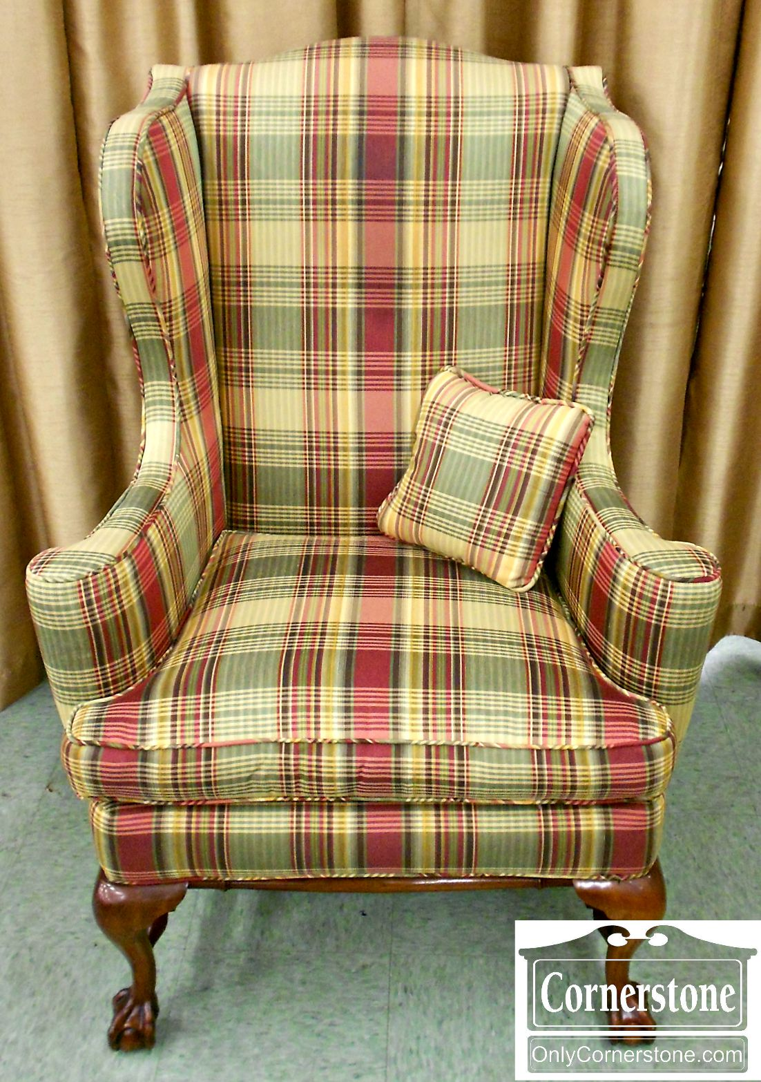 5208-830 Chippendale Ball and Claw Foot Upholstered Wing Chair