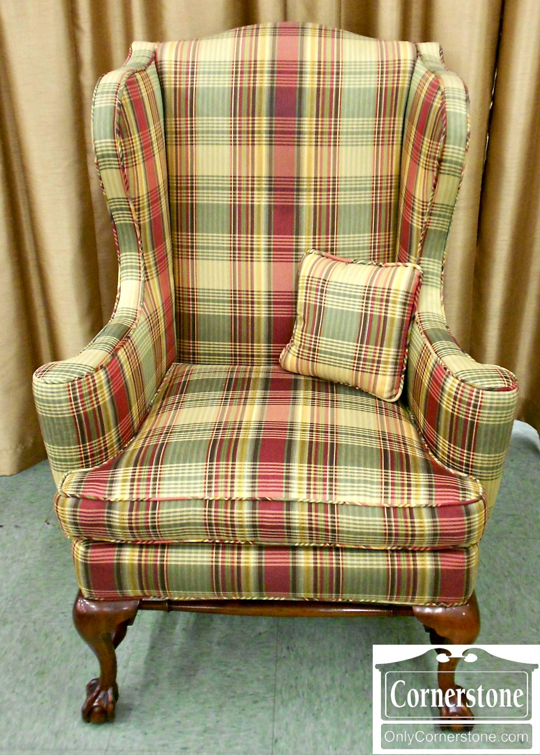 5208-831 Chippendale Ball and Claw Foot Upholstered Wing Chair