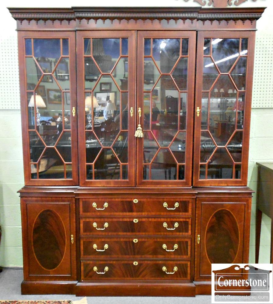 5208-868 Hickory Chair Banded Mahogany Breakfront China Cabinet