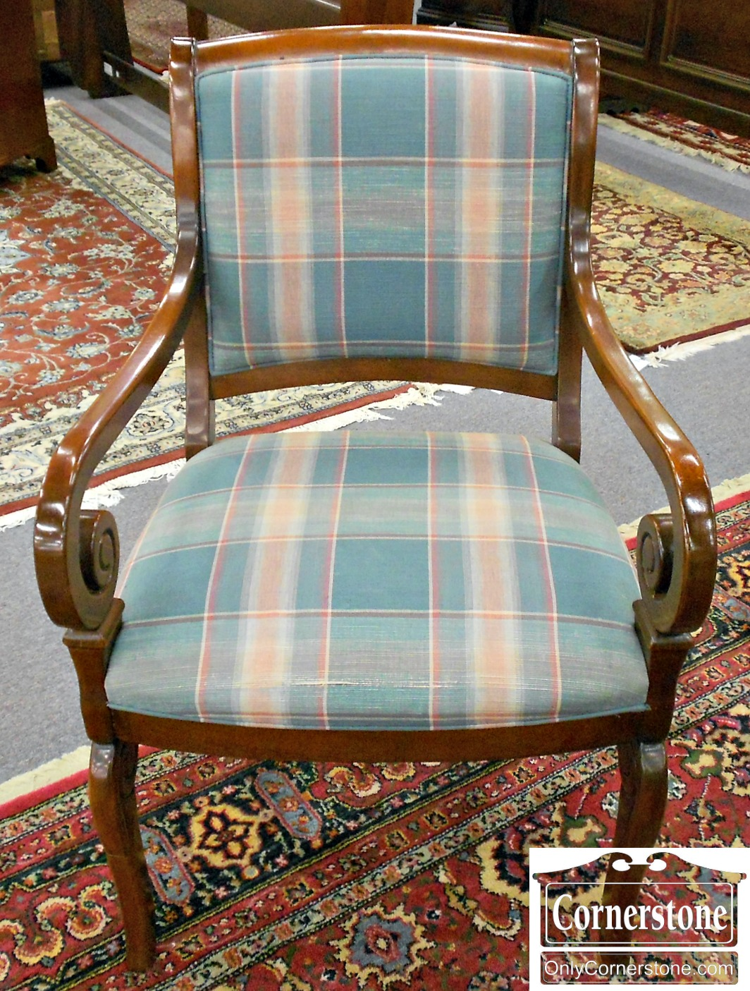 5208-905 Hickory Chair Mahogany Upholstered Arm Chair