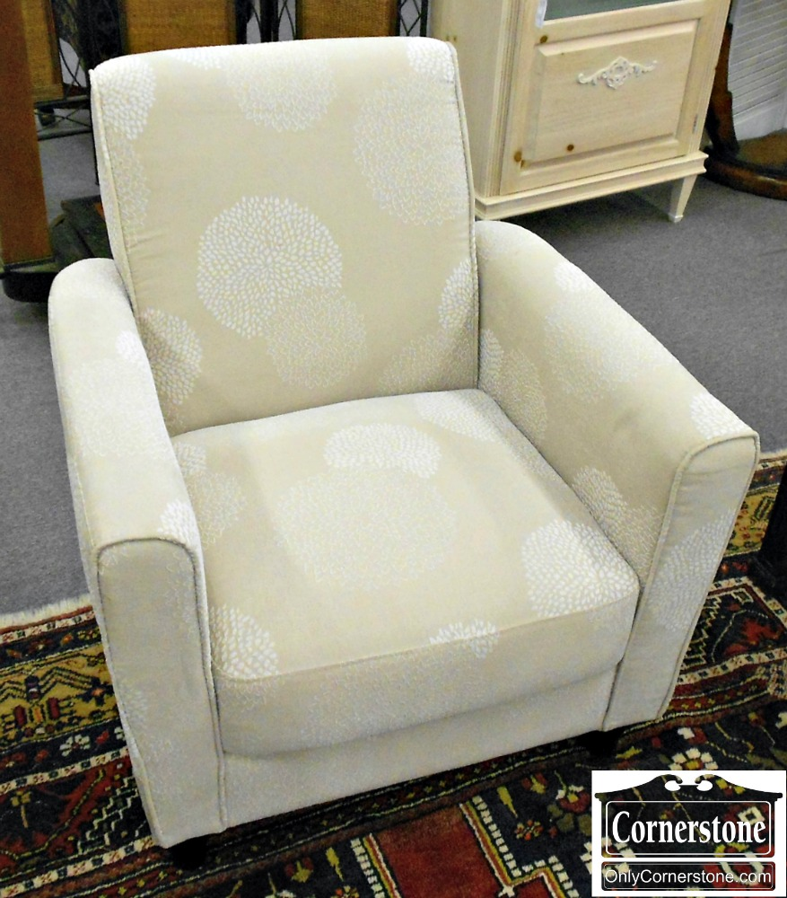 5208-918 White on Cream Upholstered Occasional Arm Chair Club Chair
