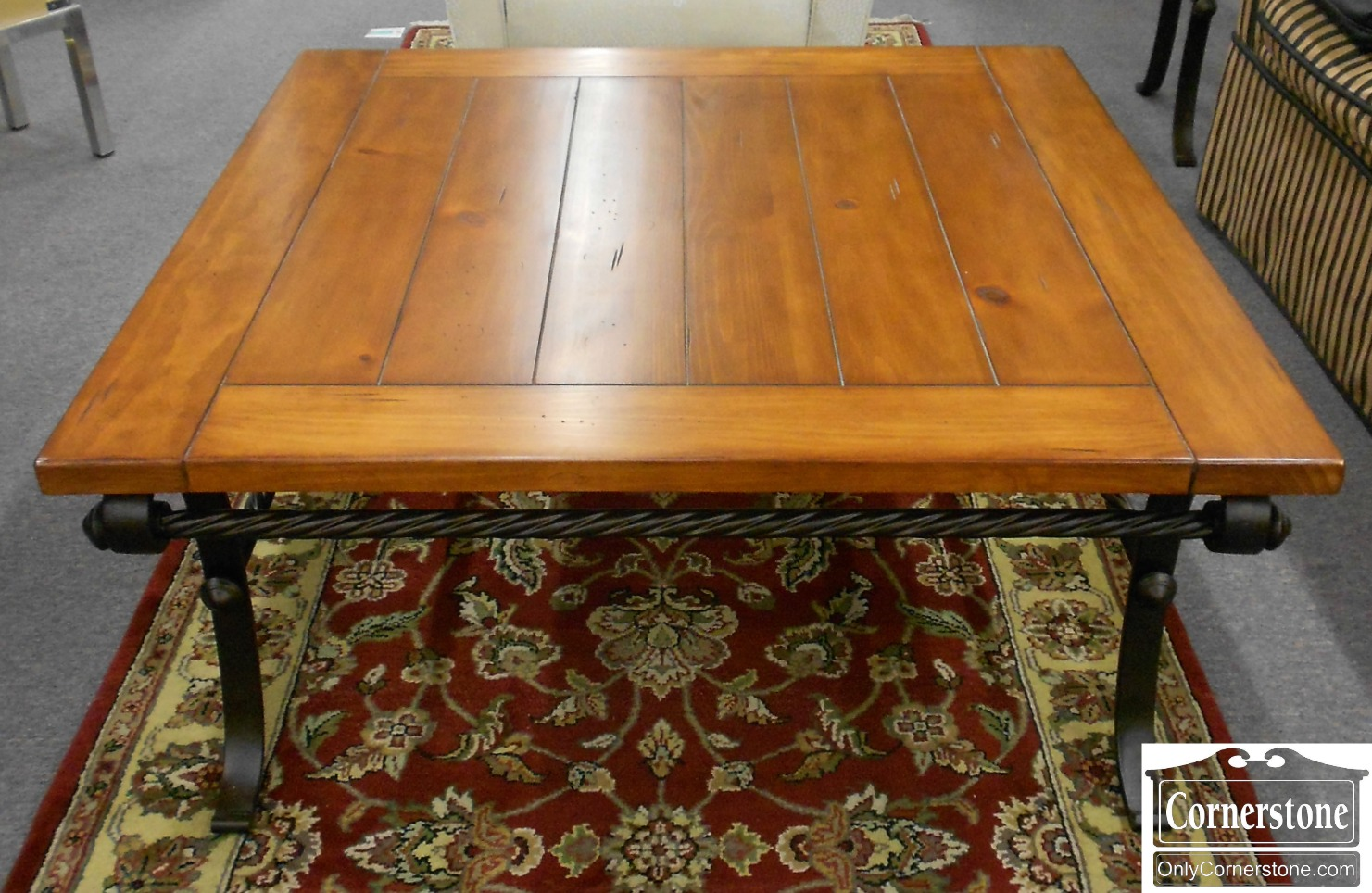 5208-957 Square Pine Coffee Table Cocktail Table with Metal Base