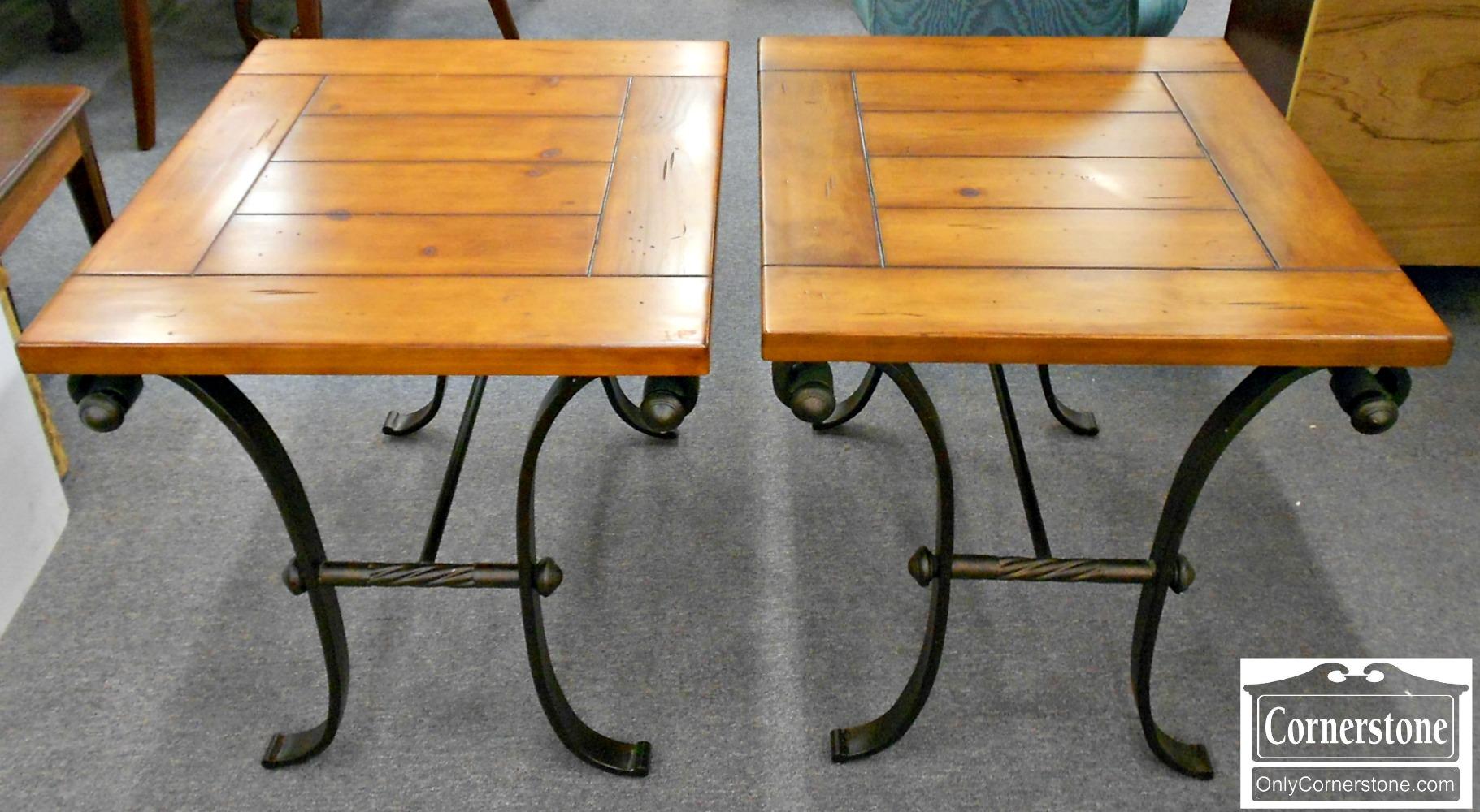 5208-958 Pair of Pine & Metal End Tables