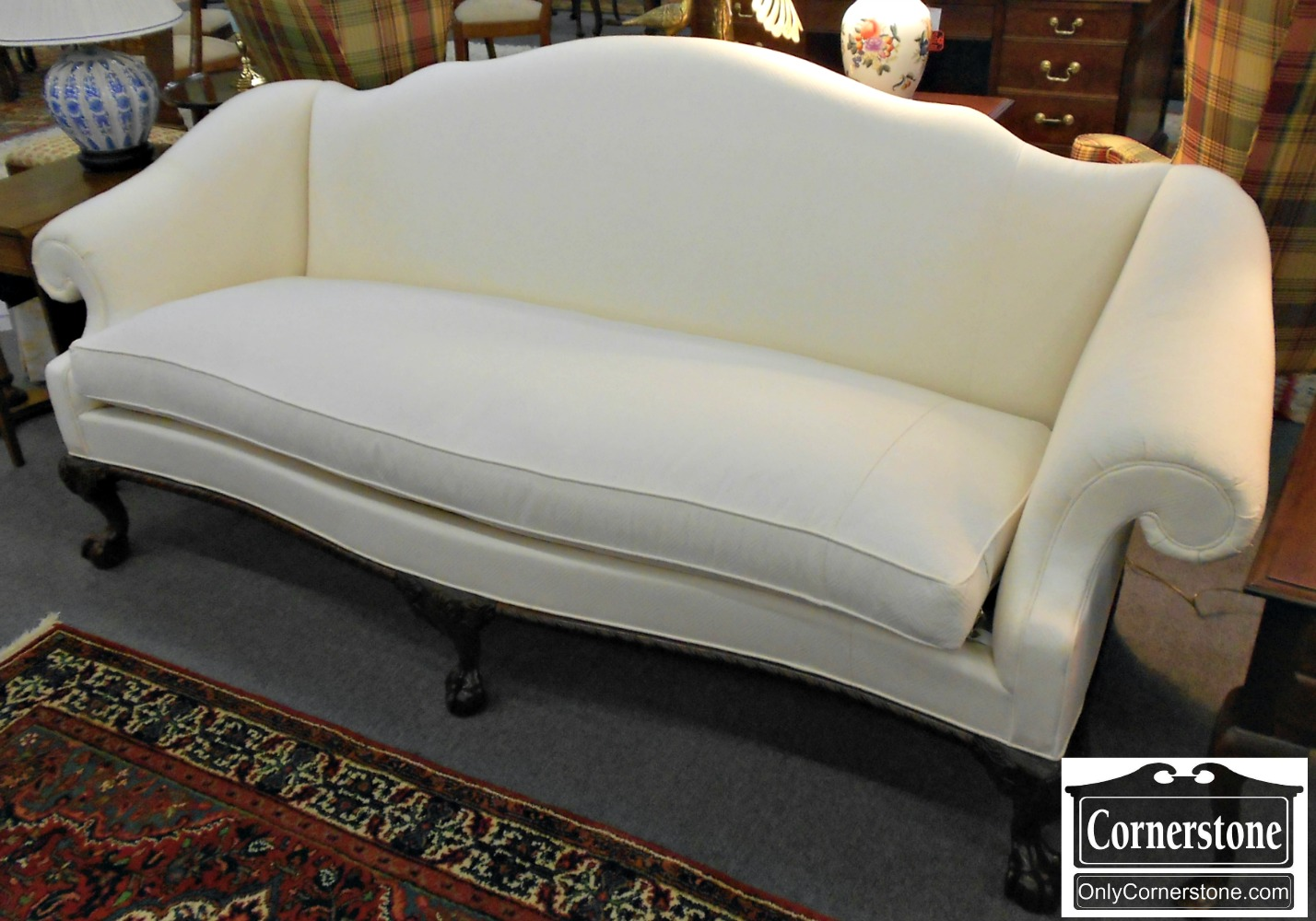 5208-961 Hickory Chair Chippendale Ball & Claw Foot White Upholstered Camelback Sofa