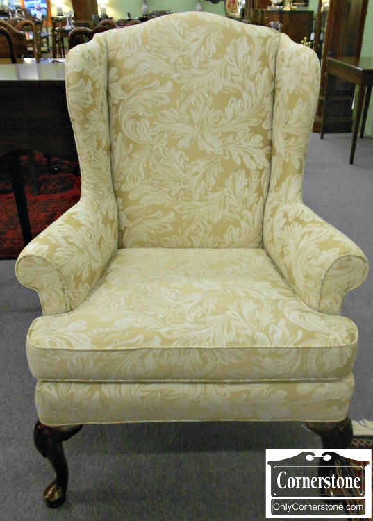 5208-999 Wesley Hall Furniture White on Cream Upholstered Wing Chair