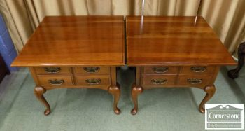 5320-38 - Pair of Thomasville Solid Cherry Queen Anne End Tables